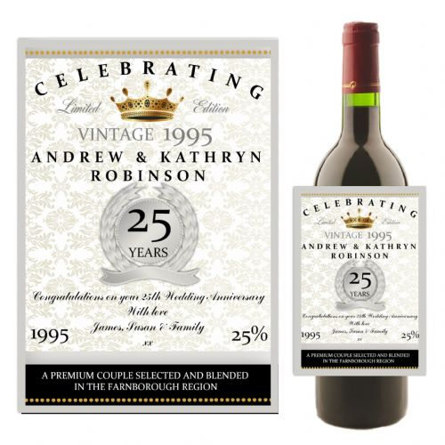 Personalised Silver 25th Wedding Anniversary Wine / Champagne Bottle Label N15